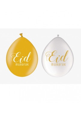 Lot de 10 Ballons white/gold EÏD mubarak