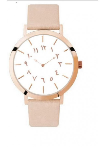 Montre chiffre arabe fond blanc nude